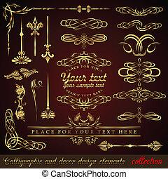 Gold calligraphic design elements. Vector design corners,...