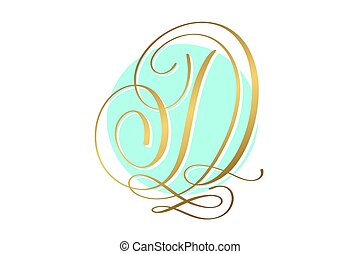 gold calligraphy letter on circle blue background