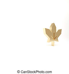 Gold Canadian maple leaf icon isolated on white background. Canada symbol maple leaf. 3d illustration 3D render