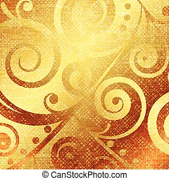 gold canvas with floral decorations