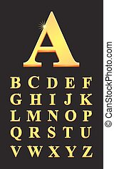 Gold capital letters in alphabet vector