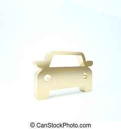 Gold Car icon isolated on white background. 3d illustration 3D render