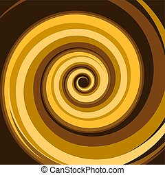 Gold Caramel Colored Twirl Spiral. Abstract Background. Vector