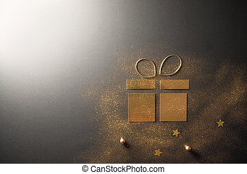 Gold card gift box icon