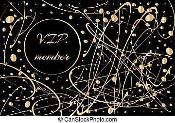 Gold card, luxury background with golden decoration on black, vector illustration. VIP member sign