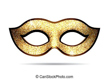 Gold carnival mask for masquerade costume. Isolated on white...