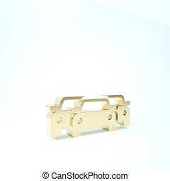 Gold Cars icon isolated on white background. 3d illustration 3D render