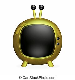 Gold Cartoon 3D TV with Black Screen