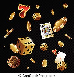 Gold casino poker chips and dices flying in front of black background