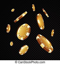 Gold casino poker chips flying in front of black background