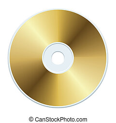 Blank gold compact disc, vector illustration.