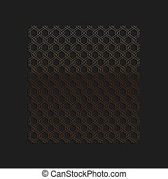 Gold Chain Fence icon isolated on black background. Metallic...