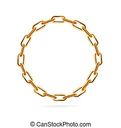 Gold Chain Frame Round. Vector