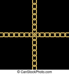 Gold chains on a black background. Chains are crossed.