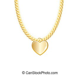 Gold Chain Jewelry Whith Heart. Vector Illustration. EPS10