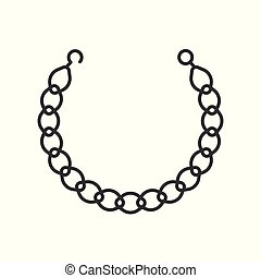 gold chain necklace, jewelry related outline icon