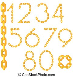 Gold Chain Number Collection Isolated