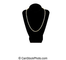 Gold Chain on Black and White