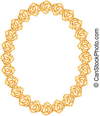 gold chain, rose - oval frame on a white background.