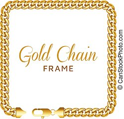 Gold chain square border frame. Rectangle wreath shape with...