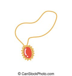 Gold Chain with Pendant, Fashion Jewelry Accessory with Red Gemstone Vector Illustration