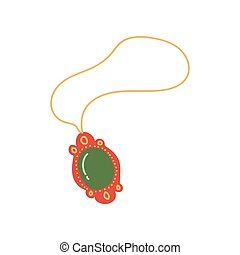 Gold Chain with Pendant, Jewelry Accessory with Green Gemstone Vector Illustration