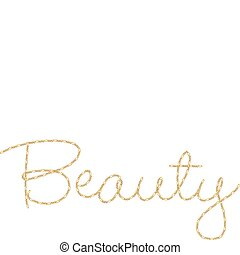 Gold Chain Word Beauty The Written In Fine Vector Clipart