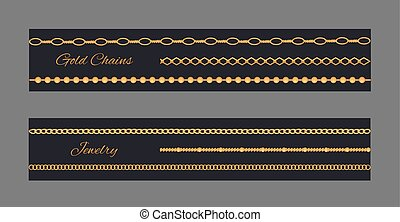 Gold Chains and Jewelry Set Vector Illustration