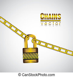 gold chains attached by a padlock
