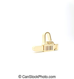 Gold Chainsaw icon isolated on white background. 3d illustration 3D render