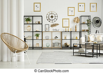 Gold chair in apartment interior