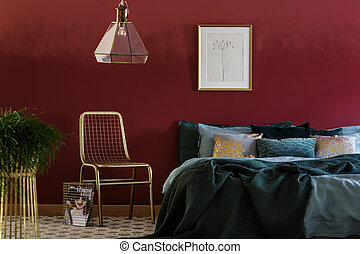 Gold chair in bedroom interior