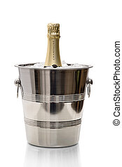 Champagne bottle in wine cooler on ice - Gold Champagne...