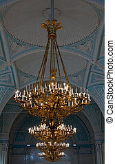 gold chandeliers in the Hermitage in St. Petersburg.