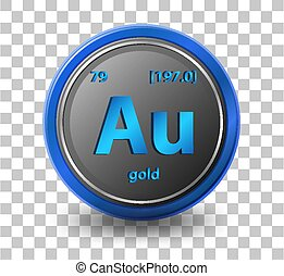 Gold chemical element. Chemical symbol with atomic number and atomic mass.
