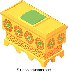 Gold chest icon, isometric style