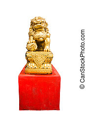 gold chinese lion isolated