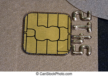 gold chip of a credit card