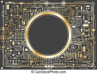 Gold chipset digital background isolated on black. CPU...