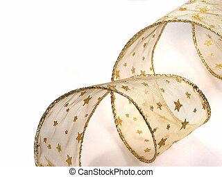 Gold Christamas ribbon on white