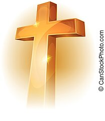 Gold Christian Cross - Illustration of a golden christian...