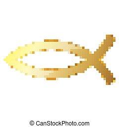 Gold Christian Fish symbol in pixel art style. Vector illustration.