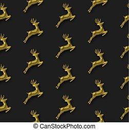 Gold Christmas 3d reindeer seamless pattern