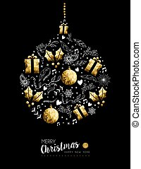 Gold Christmas and New Year bauble decoration - Merry...