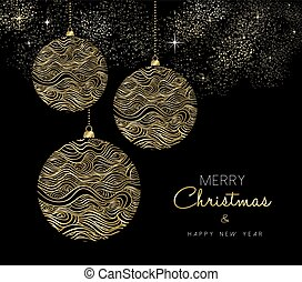 Gold Christmas and New Year bauble ornament - Merry...
