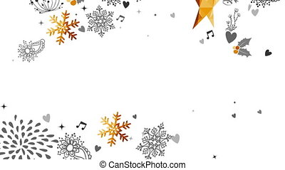 Gold Christmas and New Year deer decoration card