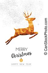 Gold Christmas and new year deer low poly art