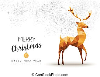 Gold Christmas and new year reindeer low poly art - Merry...