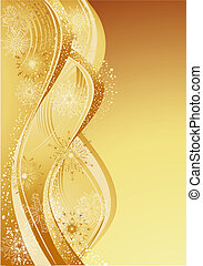 Gold abstract christmas background with snowflakes.