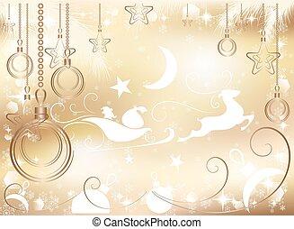 gold Christmas background, vector illustration
